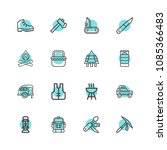 premium set of camping icons.... | Shutterstock .eps vector #1085366483
