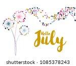 pink gold blue vector dandelion ... | Shutterstock .eps vector #1085378243