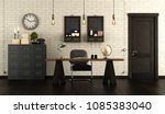 home office in retro style with ... | Shutterstock . vector #1085383040