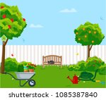 sunny back yard with green lawn ... | Shutterstock .eps vector #1085387840