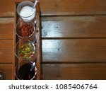 noodle condiment on wooden... | Shutterstock . vector #1085406764
