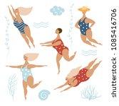 five funny cute fat women in... | Shutterstock .eps vector #1085416706