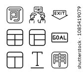 outline set of 9 word icons... | Shutterstock .eps vector #1085419079