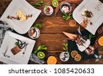 large selection of desserts and ... | Shutterstock . vector #1085420633