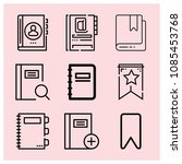 outline bookmark icon set such... | Shutterstock .eps vector #1085453768