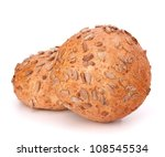 Two sandwich bun with sunflower seeds isolated on white background - stock photo