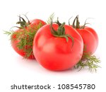 Three tomato vegetables and dill leaves still life isolated on white background cutout - stock photo