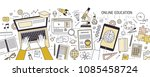horizontal banner with hands... | Shutterstock .eps vector #1085458724