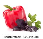 Sweet pepper and basil leaves still life isolated on white background cutout - stock photo
