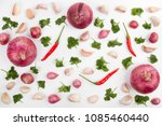 garlic and onion ingredient... | Shutterstock . vector #1085460440