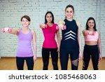 a group of four beautiful women ... | Shutterstock . vector #1085468063