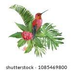 vector tropical leaves... | Shutterstock .eps vector #1085469800