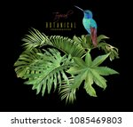 vector tropical leaves... | Shutterstock .eps vector #1085469803