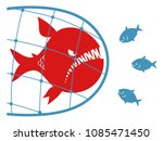red carnivore fish caught in... | Shutterstock .eps vector #1085471450
