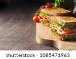 close up of two sandwiches with ... | Shutterstock . vector #1085471963
