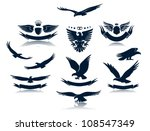 Stock vector a set of eagles silhouettes 108547349