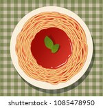 spaghetti with tomato sauce and ... | Shutterstock .eps vector #1085478950