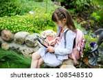 little girl with pink backpack... | Shutterstock . vector #108548510