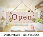 the wooden page and sign... | Shutterstock . vector #1085487056