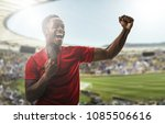 afro young man fan celebrating... | Shutterstock . vector #1085506616
