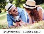 picnic time. young smiling... | Shutterstock . vector #1085515310