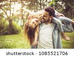 happy father playing and... | Shutterstock . vector #1085521706