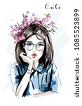 hand drawn beautiful young... | Shutterstock .eps vector #1085523899