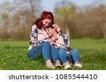 mother and daughter with... | Shutterstock . vector #1085544410
