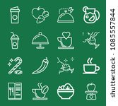 outline set of 16 food icons... | Shutterstock .eps vector #1085557844