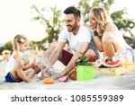 happy family on the beach... | Shutterstock . vector #1085559389