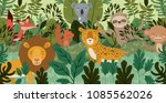 group of animals in the forest... | Shutterstock .eps vector #1085562026