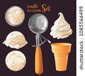 vector set of watercolor... | Shutterstock .eps vector #1085566499