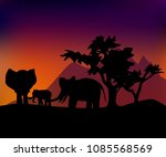 three elephants in the night sa | Shutterstock .eps vector #1085568569