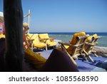 dahab beach restaurant chairs...   Shutterstock . vector #1085568590