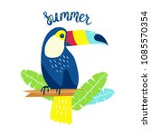 toucan with palm leaves  vector ... | Shutterstock .eps vector #1085570354