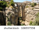 New bridge in Ronda, one of the famous white villages in M�¡laga, Andalusia, Spain - stock photo