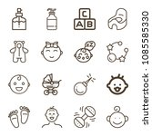 baby related set of 16 icons... | Shutterstock .eps vector #1085585330