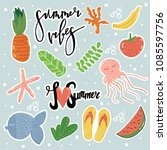vector cartoon style summer...   Shutterstock .eps vector #1085597756