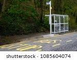 bus stop shelter rural... | Shutterstock . vector #1085604074