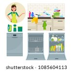 dishwasher  kitchen faucet and... | Shutterstock .eps vector #1085604113