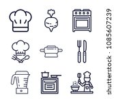 set of 9 cooking outline icons... | Shutterstock .eps vector #1085607239