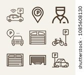 set of 9 parking outline icons... | Shutterstock .eps vector #1085608130