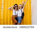 tanned brunette female model in ... | Shutterstock . vector #1085622704