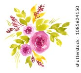 watercolor composition with... | Shutterstock . vector #1085624150