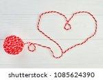 shape of heart from red woolen... | Shutterstock . vector #1085624390