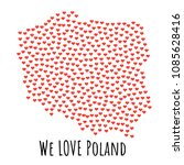 poland map with red hearts ... | Shutterstock . vector #1085628416