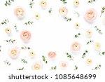 floral frame made of pink... | Shutterstock . vector #1085648699
