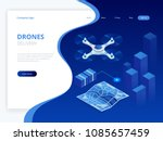isometric drone fast delivery... | Shutterstock .eps vector #1085657459