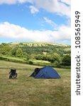 blue tent on green grass   Shutterstock . vector #108565949
