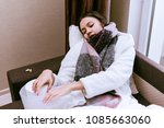 a sad young girl fell ill  a... | Shutterstock . vector #1085663060
